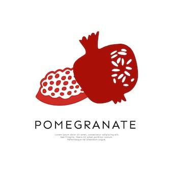 白い背景で隔離のザクロのベクトルのロゴ。ザクロとエンブレムの種、シャナトバデザインのラベル。ガーネットとタイポグラフィの穀物-ロゴデザイン。