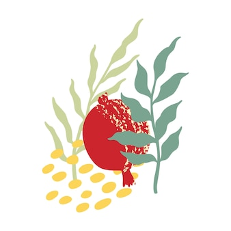 Pomegranate vector logo isolated on white background. pomegranate and seed for emblem, label for shana tova design. abstract garnet and grains with hand drawn leaves - logo design, poster template.