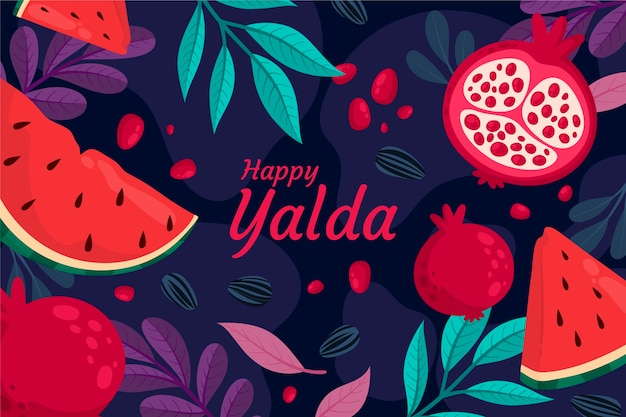 Pomegranate and watermelon yalda background
