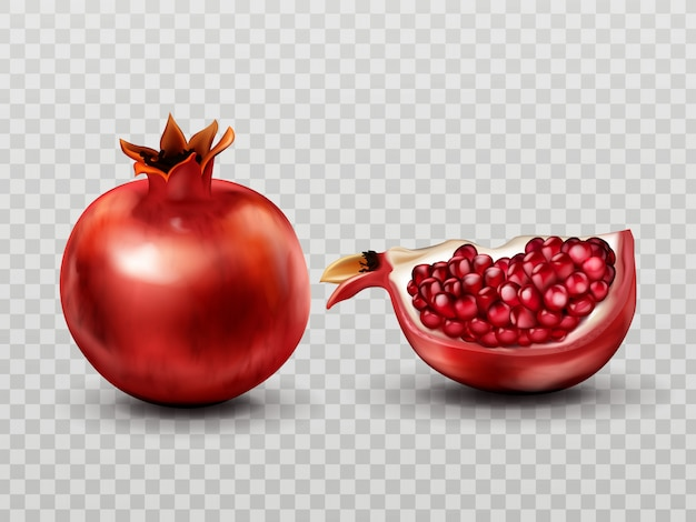 Pomegranate whole and slice with seeds isolated