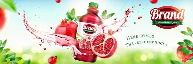 3dイラストの自然なボケ味の背景に液体をはねとザクロのボトル入りジュースの広告