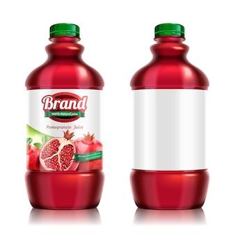 석류 병에 든 주스 패키지 디자인은 3d 그림으로 설정되어 있습니다.