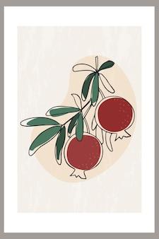 잎이 있는 나뭇가지에 석류