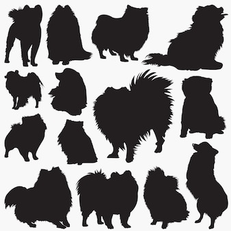Pomeranian dog silhouettes