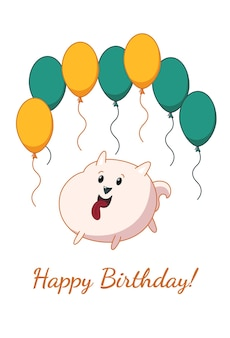 Pomeranian puppy card. happy birthday. vector illustration in cute cartoon style