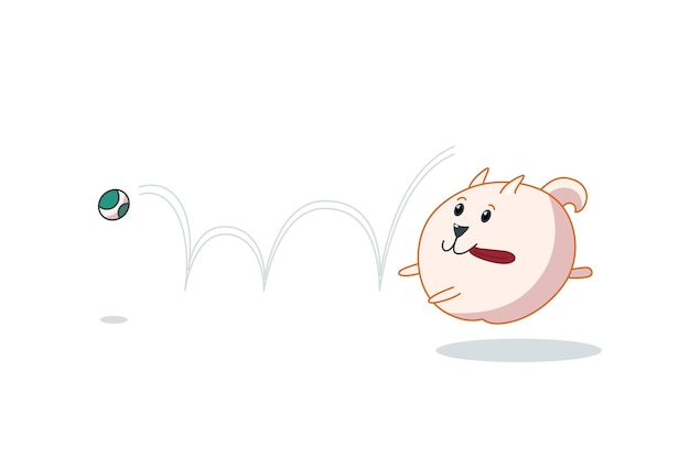 ボールをキャッチするポメラニアンの子犬。かわいい漫画スタイルのベクトルイラスト