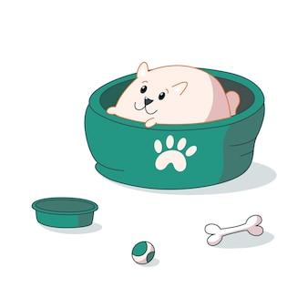 ベッドに横たわっているポメラニアンの子犬。かわいい漫画スタイルのベクトルイラスト