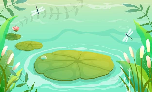 スイレンとユリの植物草と葦と池、沼または湖の風景の水平方向の背景。子供のための緑の色調の沼のイラスト、水彩風の空の自然ベクトルの背景。