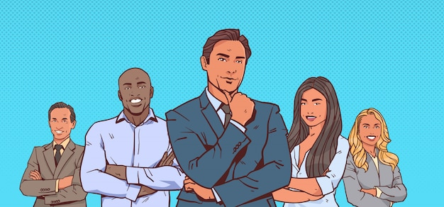 Pondering businessman boss with group of business people successful mix race team folded hands
