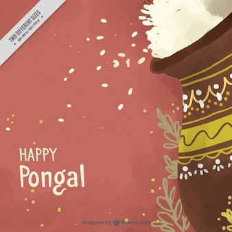 Pongal background of pot with rice in watercolor style