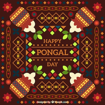 Pongal background with flowers and pots