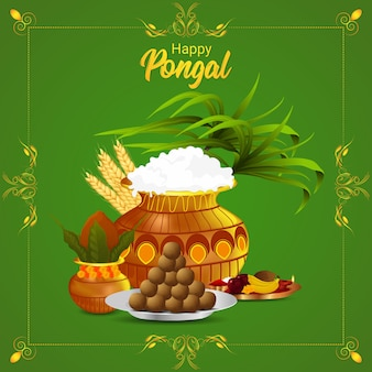 Pongal background with mud pot