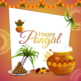 Pongal background with sugarcane and pot of mud