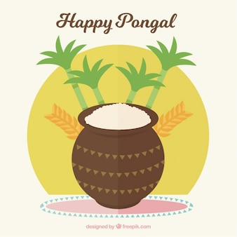 Pongal background with sugarcanes and rice