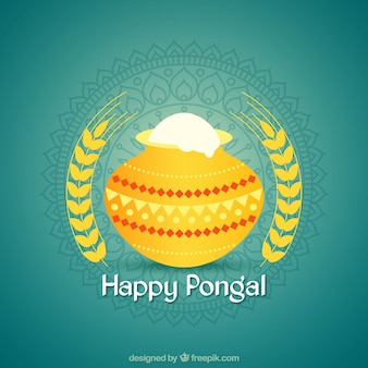 Pongal background with yellow pot and ornamental decoration