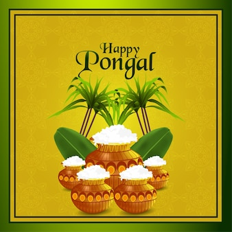 Pongal celebration background with mud pot and sugarcane