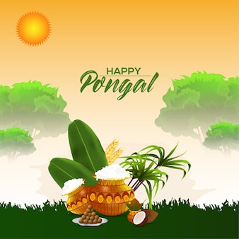 Pongal greeting card or banner design concept
