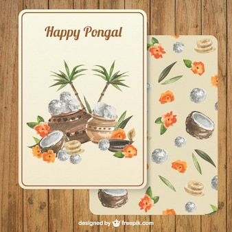 Pongal greeting card in hand painted style