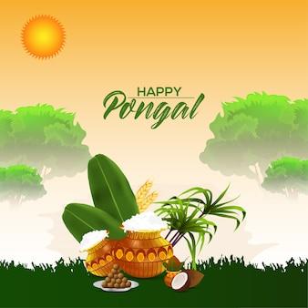 Pongal 인사말 카드 또는 배너 디자인 컨셉