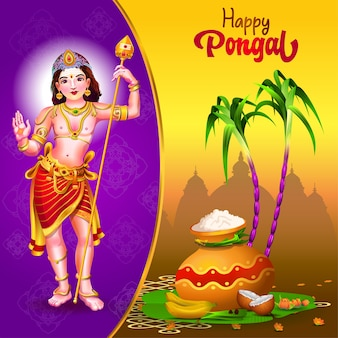 Pongal greetings with god pot sugarcane and traditional things