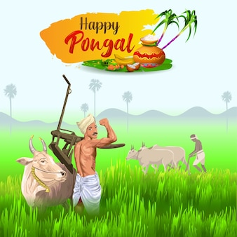 Pongal greetings with plough farmer