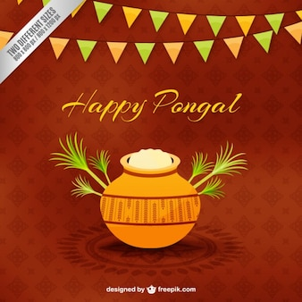 Pongal rice pot on brown background