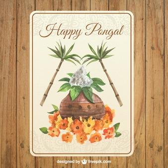 水彩pongalグリーティングカード