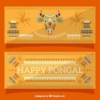 牛やポットで装飾pongalバナー