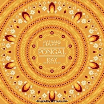 幾何学的な装飾が施された美しいpongalの背景