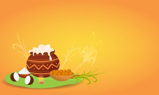 ココナッツ、穀物ボウルと泥の鍋でポンガリライス