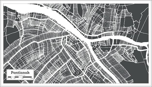 복고 스타일의 폰티아낙 인도네시아 도시 지도. 개요 지도. 벡터 일러스트 레이 션.