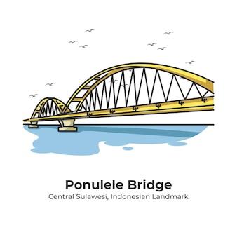 Ponulele bridge indonesian landmark cute line illustration