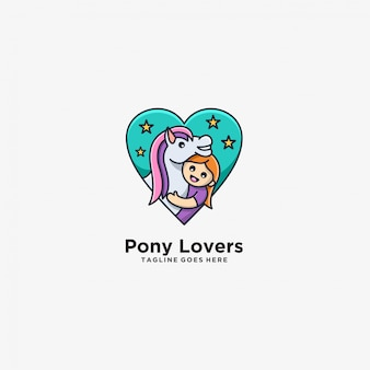 Pony lovers horse with children cute illustration .
