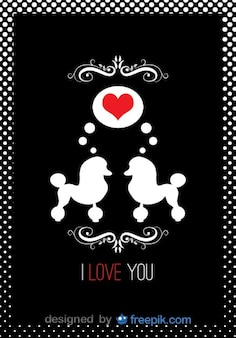 Poodle couple in love card