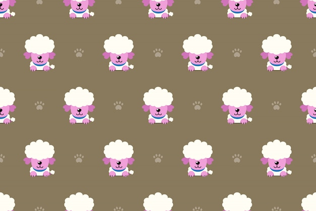 Poodle dog seamless pattern background