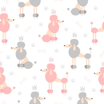 Poodle dog with crown seamless pattern background