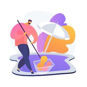 プールと屋外のクリーニングの抽象的な概念のベクトル図です。スイミングプールの化学薬品、屋外メンテナンス会社、デッキクリーナー、パティオ研磨サービス、ツールと機器の抽象的な比喩。