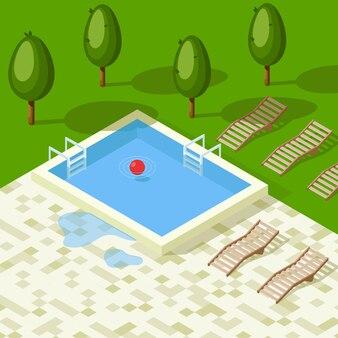 수영장에 수영장과 타일 공 수레