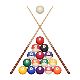 Pool billiard balls in starting position