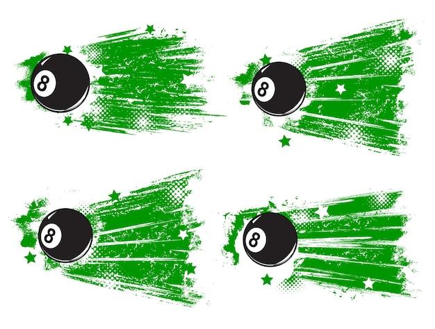 プールビリヤードゲームグランジバナー。漫画のベクトル黒のエイトボール、緑のペイントのブラシストロークまたはトレース、星のヴィンテージハーフトーン効果のある汚れた背景。キュースポーツ選手権レトロバナー