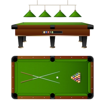 Pool billiard table and furniture set