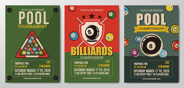 Pool or billiards championship flyer template
