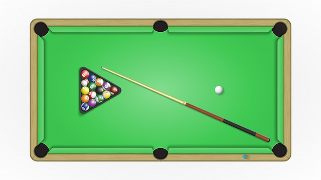 Pool billiards table, balls, cue and chalk