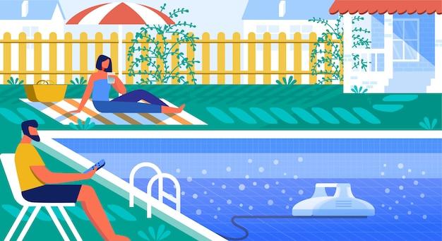 Векторная иллюстрация pool cleaner robot cartoon.