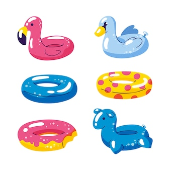 Pool cute kids inflatable floats, vector isolated design elements