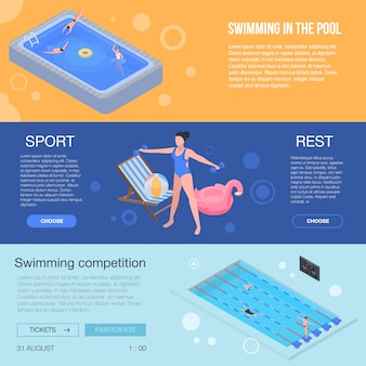 Pool equipment banner set. isometric set of pool equipment vector banner for web design