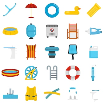Pool equipment icon set