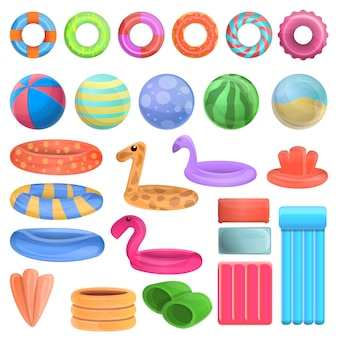 Pool equipment icons set, cartoon style