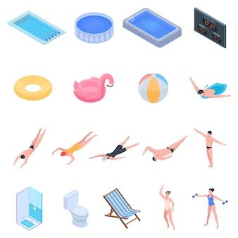 수영장 장비 아이콘을 설정합니다. 흰색 배경에 고립 된 웹 디자인을위한 수영장 장비 벡터 아이콘의 아이소 메트릭 세트