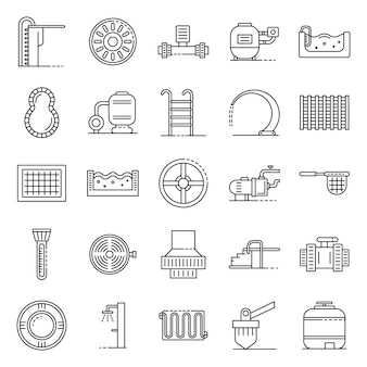 Pool equipment icons set, outline style